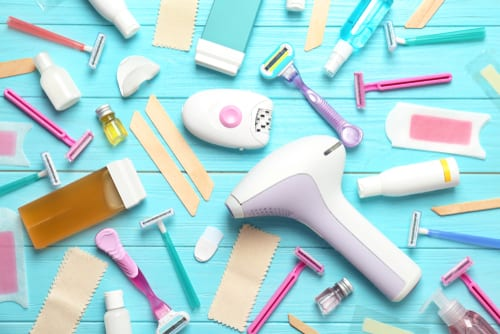 Razors, waxing strips, and other temporary hair removal systems.
